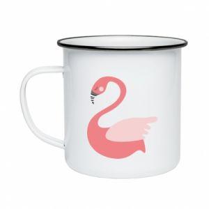 Kubek emaliowany Pink swan swims