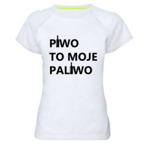 Koszulka sportowa damska Piwo to moje paliwo, z butelkami