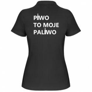 Koszulka polo damska Piwo to moje paliwo, z butelkami