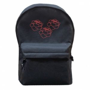 Backpack with front pocket Peonies