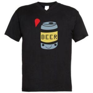 Męska koszulka V-neck Pizza Beer