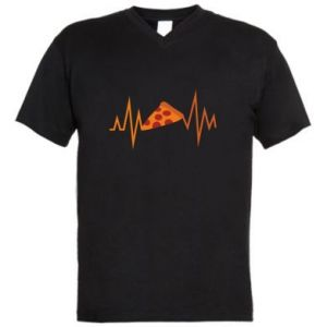 Men's V-neck t-shirt Pizza cardiogram
