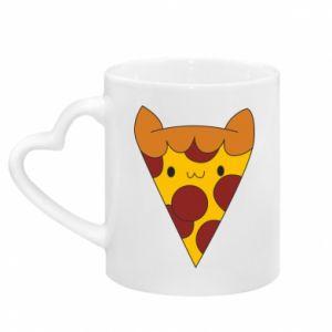 Kubek z uchwytem w kształcie serca Pizza cat