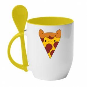 Mug with ceramic spoon Pizza cat - PrintSalon