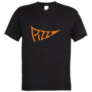 Men's V-neck t-shirt Pizza inscription