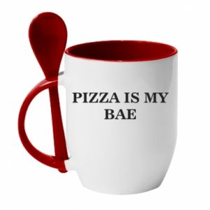 Kubek z ceramiczną łyżeczką PIZZA IS MY BAE