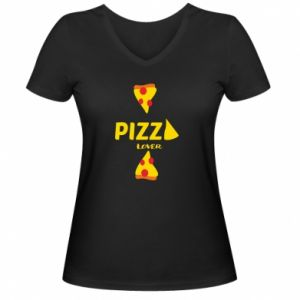 Damska koszulka V-neck Pizza lover