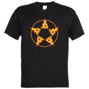 Męska koszulka V-neck Pizza pentagram