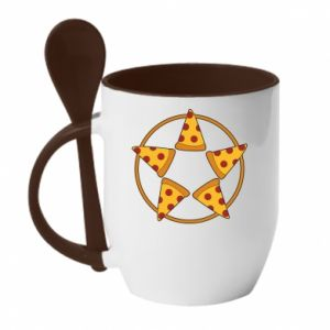 Kubek z ceramiczną łyżeczką Pizza pentagram
