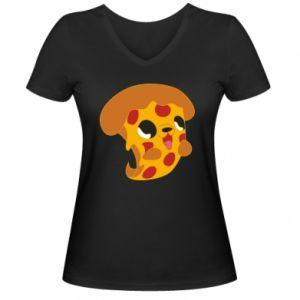 Damska koszulka V-neck Pizza Puppy