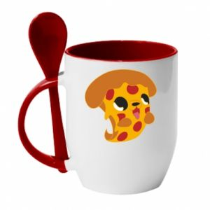 Mug with ceramic spoon Pizza Puppy