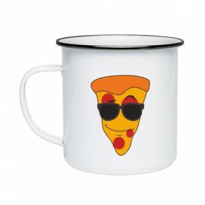 Kubek emaliowane Pizza with glasses