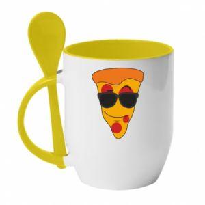 Kubek z ceramiczną łyżeczką Pizza with glasses