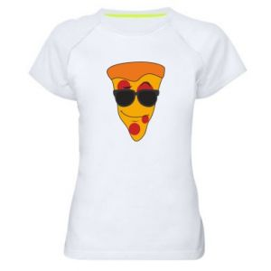 Damska koszulka sportowa Pizza with glasses