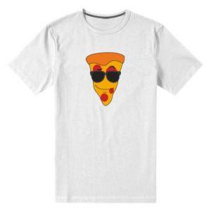 Męska premium koszulka Pizza with glasses