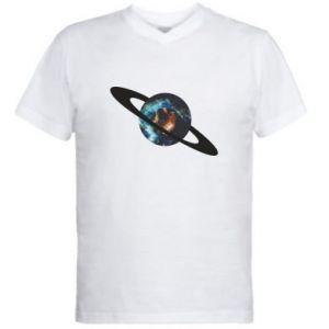 Męska koszulka V-neck Planeta w kosmosie
