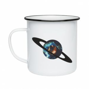 Enameled mug Planet in space