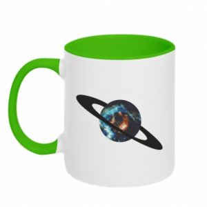 Two-toned mug Planet in space