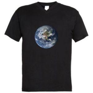 Męska koszulka V-neck Planeta Ziemia - PrintSalon