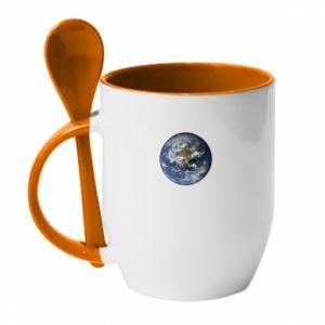 Kubek z ceramiczną łyżeczką Planeta Ziemia - PrintSalon