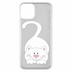Phone case for iPhone 11 Playful white cat - PrintSalon