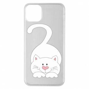 Phone case for iPhone 11 Pro Max Playful white cat - PrintSalon