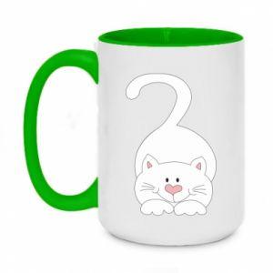 Kubek dwukolorowy 450ml Playful white cat