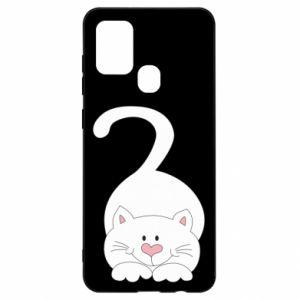 Etui na Samsung A21s Playful white cat