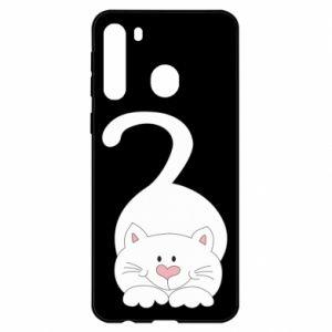 Etui na Samsung A21 Playful white cat