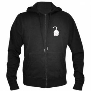 Men's zip up hoodie Playful white cat - PrintSalon