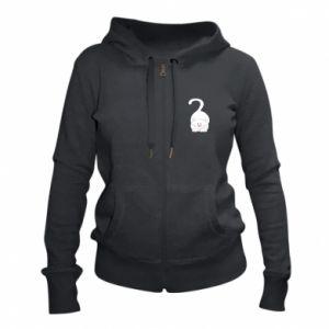 Women's zip up hoodies Playful white cat - PrintSalon