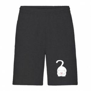 Men's shorts Playful white cat - PrintSalon