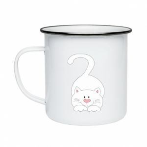 Enameled mug Playful white cat - PrintSalon