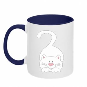 Two-toned mug Playful white cat - PrintSalon