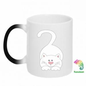 Chameleon mugs Playful white cat - PrintSalon