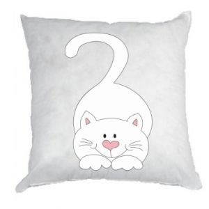 Pillow Playful white cat