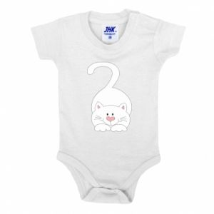 Baby bodysuit Playful white cat