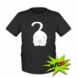 Dziecięcy T-shirt Playful white cat