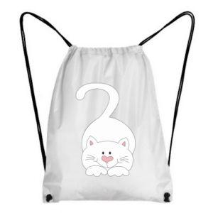 Backpack-bag Playful white cat - PrintSalon