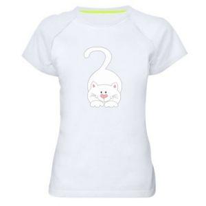 Women's sports t-shirt Playful white cat - PrintSalon