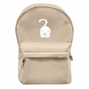 Backpack with front pocket Playful white cat - PrintSalon