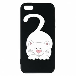 Phone case for iPhone 5/5S/SE Playful white cat - PrintSalon