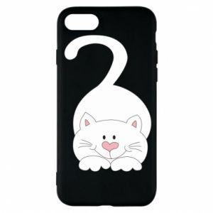 Phone case for iPhone 7 Playful white cat - PrintSalon