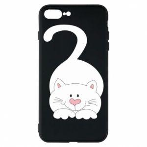 Phone case for iPhone 8 Plus Playful white cat - PrintSalon