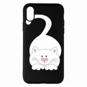 Phone case for iPhone X/Xs Playful white cat - PrintSalon