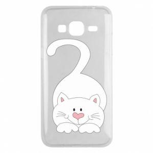 Phone case for Samsung J3 2016 Playful white cat - PrintSalon