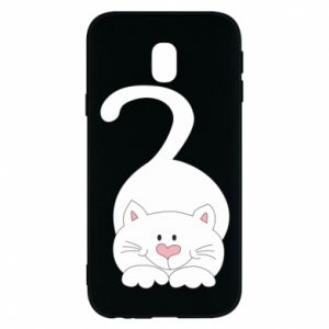 Phone case for Samsung J3 2017 Playful white cat - PrintSalon