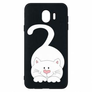 Phone case for Samsung J4 Playful white cat - PrintSalon