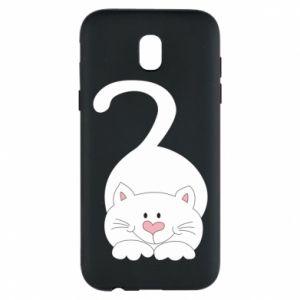 Phone case for Samsung J5 2017 Playful white cat - PrintSalon