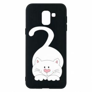 Phone case for Samsung J6 Playful white cat - PrintSalon